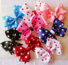 Hey, I found this really awesome Etsy listing at https://www.etsy.com/listing/183683640/girls-assorted-polka-dot-hair-bows-set
