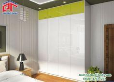 Mẫu tủ áo Acrylic bóng gương cho phòng ngủ hiện đại TA-09