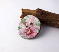 Spring Collection - Big Ceramic Art Button  - Candy Pink Iris - 2 hole hand made