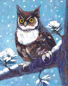 'Horned Owl In Snow' by Peggy Wilson