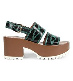 MARNI One-Band Leather Wedge Sandals. #marni #shoes #sandals
