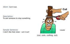 Definition of the phrasal verb 'Cut It Out'.