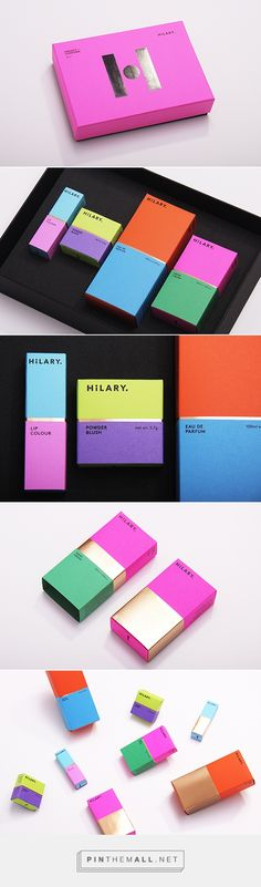 Fresh and bright colours for Hilary cosmetic packaging. Eyecatching colour block style with foiled elements makes for a modern, on trend vibe with some bold packaging design that would be memorbale for the brands identity Cosmetic Packaging, Beauty Packaging, Brand Packaging, Product Packaging, Gift Packaging, Corporate Design, Inspiration Wand, Bussiness Card, Cosmetic Design