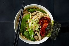 Photo for the dish: Miso Ramen with Roasted Tomatoes, Shiitake and Snow Peas