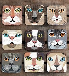 Quirky Cat Coasters - illustrations Simon Hart created using Harris Tweeds, vintage newspapers and sheet music.    http://www.notonthehighstreet.com/simonhart/product/purrtrait-close-up-cat-coaster