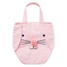 Girls pink stripe tote bag featuring bunny face and floppy ears. Kids Tote Bag, Kids Bags, Canvas Tote Bags, Striped Tote Bags, Printed Tote Bags, Bag Quotes, Sewing To Sell, Personalized Tote Bags, Bag Patterns To Sew