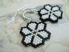 Peyote Earrings Flower Black White Seed Bead Beaded Beadwork