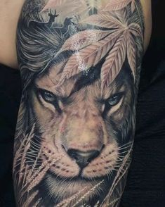 Lion - Famous Last Words Daddy Tattoos, Leo Tattoos, Dope Tattoos, Animal Tattoos, Body Art Tattoos, Tattoos For Guys, Tattoo Ink, Wiccan Tattoos, Inca Tattoo