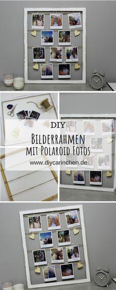 DIY: ausgefallener Bilderrahmen mit Fotos im Polaroid-Stil selber machen - die perfekte Wanddeko: DIY, Basteln, Selbermachen, Deko, Dekoration, Wanddeko, Bilderrahmen, Polaroid, Geschenk, Geschenkidee, Anleitung, Tutorial #Deko #DIY #Basteln #Selbermachen #doityourself #Anleitung