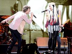 "Mick Jagger and Gwen Stefani onstage at the Rolling Stones ""50 & Counting"""