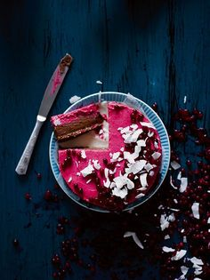 raw chocolate and lingonberry cake