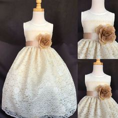 28.04$  Watch here - http://viujj.justgood.pw/vig/item.php?t=m96krlf0546 - Ivory Floral Lace Summer Easter Flower Girl Champagne Bridesmaids Dress #02