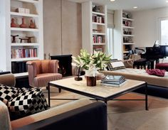 Bookcases and lovely red stripe chairs Handman Associates