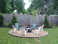 Gravel patio with Firepit