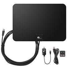 1byone Amplified HDTV Antenna - 50 Mile Range with Detachable Amplifier USB Power Supply and 10ft Coax Cable