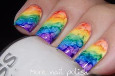 The Digit-al Dozen does 'New and Improved': Rainbow Nail Art using hand made Watercolours (Sharpies & Alcohol) ~ More Nail Polish