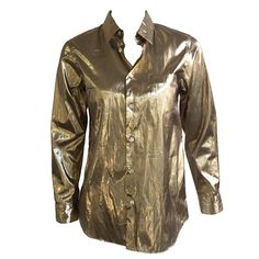 Junya Watanabe Comme des Garçons gold lame blouse size medium. | From a collection of rare vintage blouses at https://www.1stdibs.com/fashion/clothing/blouses/ @1stdibscom #commedesgarcons #fashion #luxury #forsale