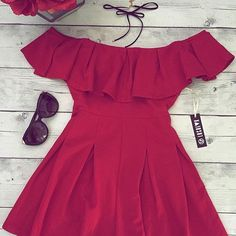 Our Della Ruffle Romper available in red and black color! Shop: WWW.LUSHFOX.COM