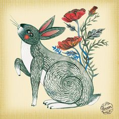 Lisa Perrin - ;Is it spring yet? is an example of a question I think this little grey bunny might ask.  Gouache and digital illustration ©Perrin 2012