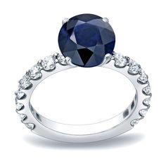 Auriya 14k Gold 1 1/2ct Blue Sapphire and 1ct TDW Round Diamond Engagement Ring (H-I, SI1-SI2) (Rose Gold - Size 5), Women's