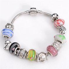 chamilia bracciali in argento sterling 925 bracciali gioielli per le donne perle di murano fascino pesci braccialetti fai da te CH156(China (Mainland))