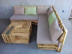 Wooden Pallet L-Shape Sofa Set