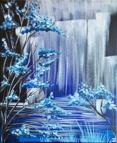 Crystal Falls Easy Landscape Paintings, Paint And Sip, Acrylic Art, Diy Painting, Fantasy Art, Art Gallery, Point Perspective, Wall Art, Drawing Tips