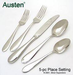 Austen by Yamazaki - Stainless flatware for less Stainless Steel Flatware, Place Settings, Tableware, Products, Dinnerware, Tablewares, Dining Sets, Table Settings, Dishes