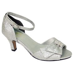 Glam up your special occasion with these shimmering Elisa extra wide width sandals. With a 2.5-inch heel, glitter upper with rhinestone detail at the vamp, and an adjustable ankle strap, these shoes are available in gold, black, silver, and bronze.