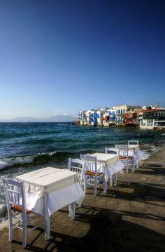 Perfect setting for dinner. Little Venice in Mykonos ~ Greece