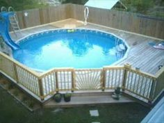 Enclosed deck for above ground pool.This would work great for our family with little kids