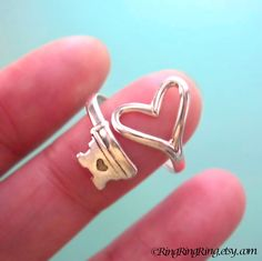 925 Heart Key ring jewelry - Adjustable Sterling silver promise ring for girlfriend 090612. $49.00, via Etsy.