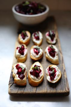 Beet bruschetta with goat cheese and basil