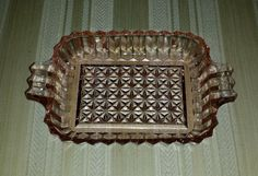 SOLD!!!!!!!!!!! Pink Crystal Depression Glass Diamond Cut Design Square Relish/Serving Tray