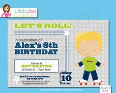 Skating Birthday Invitations for boys roller rink birthday party (331) | lullaby loo #artfire #cards #roller skating #skating #birthday #party #invitations #boys Boy Birthday Invitations, Party Invitations, Girl Birthday, Birthday Parties, Party Planning, Rsvp, Graphic Design, Cards, Boys