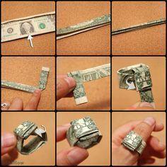 folding money for gifts dollar bills * folding money for gifts step by step ; folding money for gifts ; folding money for gifts easy ; folding money for gifts step by step fun ; folding money for gifts dollar bills Money Origami Heart, Origami Ring, Origami Wallet, Origami Love, How To Make Origami, Origami Design, Diy Origami, Origami Guitar, Origami Sword