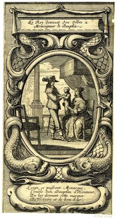 Le Roy donnant son Ordre à Monseigneur le Dauphin (XIII decorating the Dauphin with his Order, in the presence of the Queen); oval frame, with sea monsters and two cartouches. 1638 (?) Etching -  Made by: Abraham Bosse (?)
