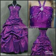 Wholesale pageant for kids a line sweep train purple taffeta halter rhinestone ruched flower girl dresses, Free shipping, $20.16-21.28/Piece | DHgate