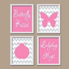 Pink Gray Butterfly Kisses Ladybug Hugs Quote Crib NURSERY Print Artwork Set of 4 Prints Chevron Pattern WALL Baby Decor ART Girl Picture