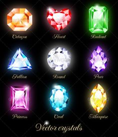 Collection of sparkling gems isolated on black background. Vector illustration EPS 10. RGB. Contains transparency and blending mod