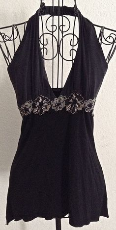 Arden B Black Sequin Stretch Top Blouse Silk Rayon Embroidered Halter Size XS #ArdenB #Top