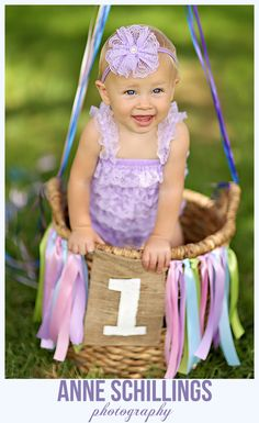 Anne Schillings Photography Child Portrait Photo One year old high heels cake smash banner burlap purple lilac lavender streamers flowers crepe paper cupcake pearls pink romper hair bow outdoor birthday sonoma county windsor santa rosa healdsburg marin napa photographer baby girl  tutu pettiromper & hair bow by @TheHairBowCo   https://www.facebook.com/anneschillingsphotography