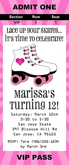 Roller skating birthday party ticket invitations are excellent for kids birthday parties! These are printed using a high quality laser printer and the finished party invitations are affordable and of outstanding quality!      Envelopes:  White envelopes are included.Sold in sets of:  Sold By Sets of 3 Card Type:  Flat Card Size:  Approx. 2.5 x 6