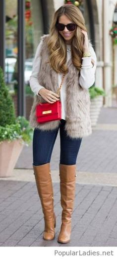 jeans-brown-boots-white-blouse-fur-vest-and-red-bag