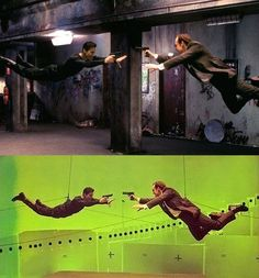 I remember watching featurettes on this around the time it came out, showcasing how they created the effects that were truly revolutionary for the time. See all those black circles spiraling around the green screen? Those are cameras, and the 'bullet time' effects in The Matrix were achieved by all of those firing at nearly the same time during key shots.