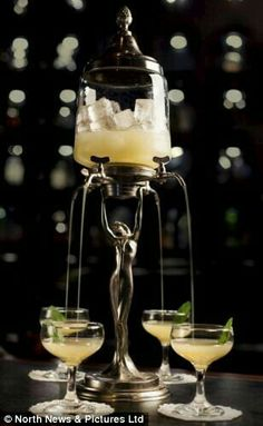 """Served in Eau de Vie's Absinthe Fountain, """"The Versailles Experience"""" is an elegant and refreshing cocktail on tap, in which Tanqueray Gin and Absinthe are combined with pear, lemon, apple and mint. Best Cocktail Bars, Cocktail List, Cocktail Shaker, Tequila, Cocktails Bar, Refreshing Cocktails, Absolut Vodka, Absolut Elyx, Nail Designs"""