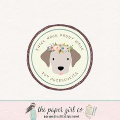 dog logo design pet shop logo children's by ThePaperGirlCo on Etsy
