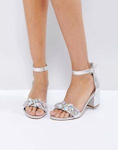 ASOS HEAD CANDY Embellished Block Heel Sandals