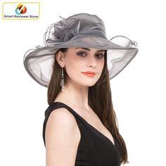 8099e38f5e1 Women Wide Brim Hat Wedding Party Church Floral Organza Kentucky Derby Hat  Grey