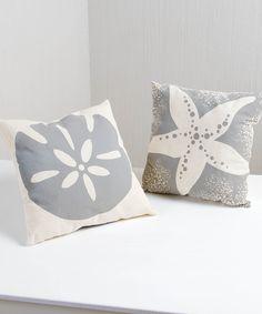 White & Gray Seaside Cottage Sham - Set of Two